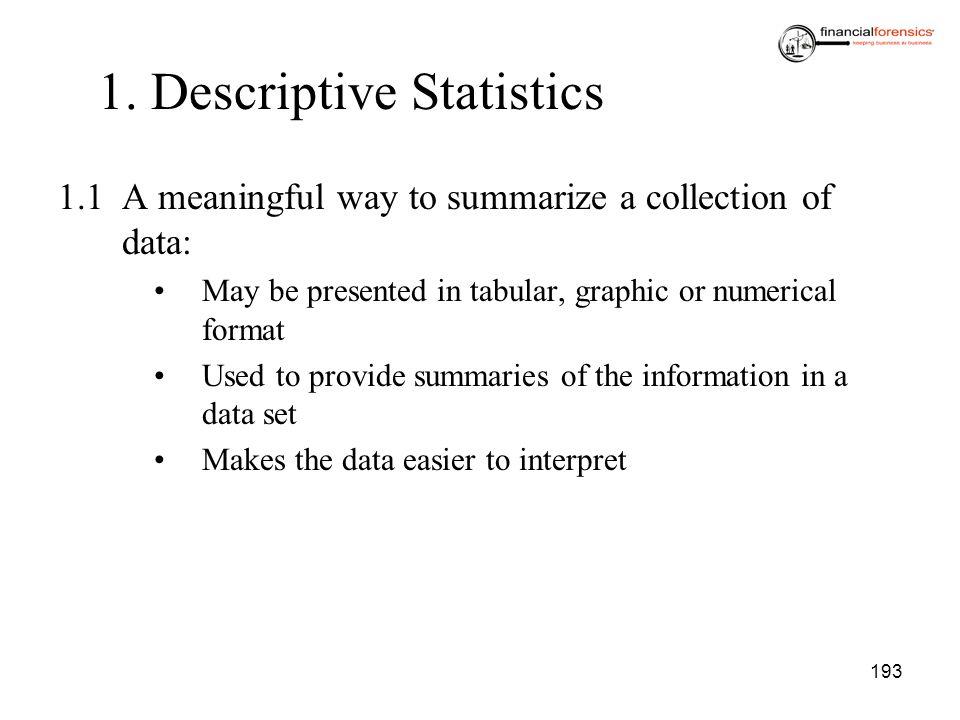 1. Descriptive Statistics