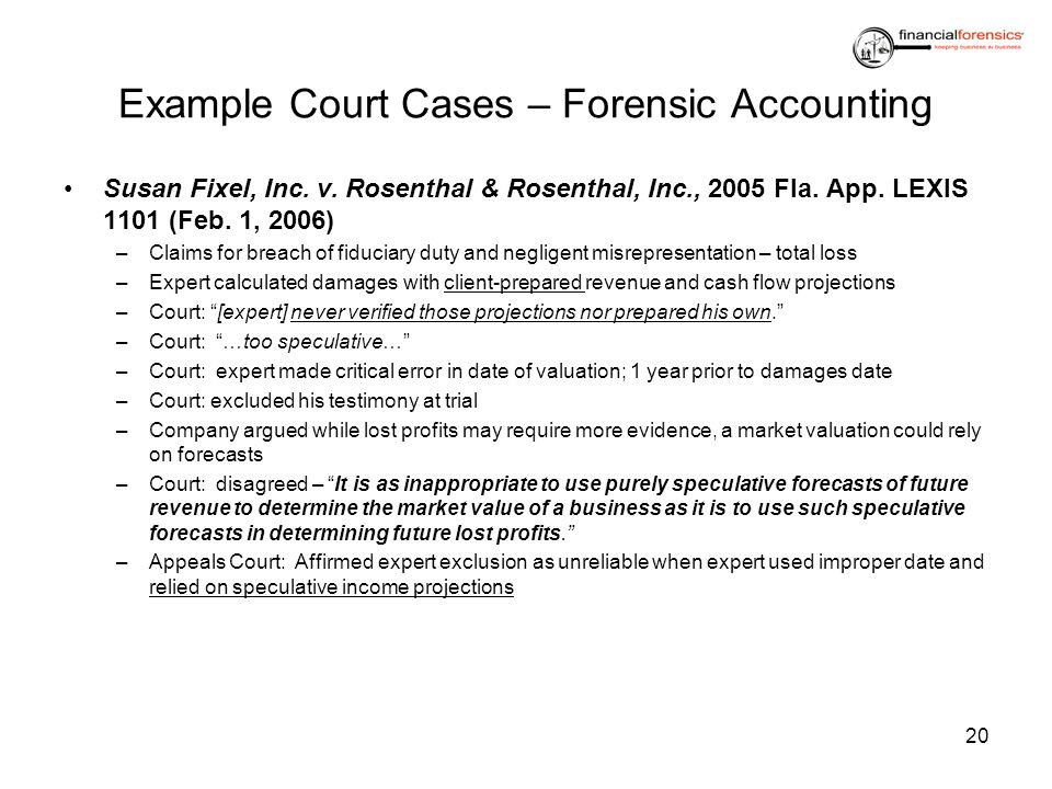 Example Court Cases – Forensic Accounting