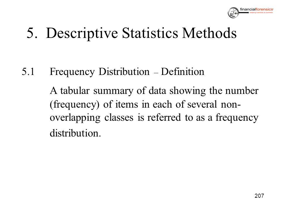 5. Descriptive Statistics Methods