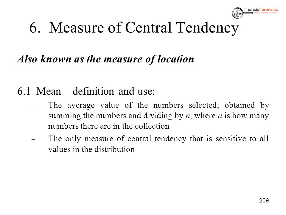 6. Measure of Central Tendency