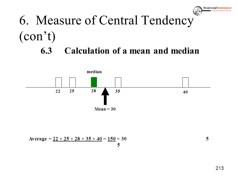 6. Measure of Central Tendency (con't)