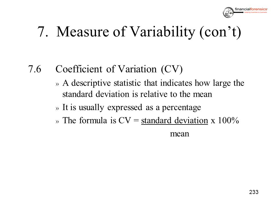 7. Measure of Variability (con't)