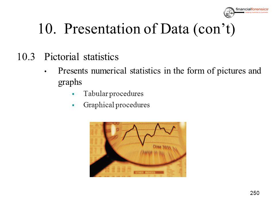 10. Presentation of Data (con't)
