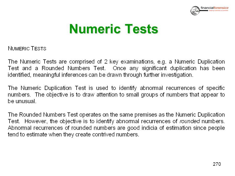 Numeric Tests