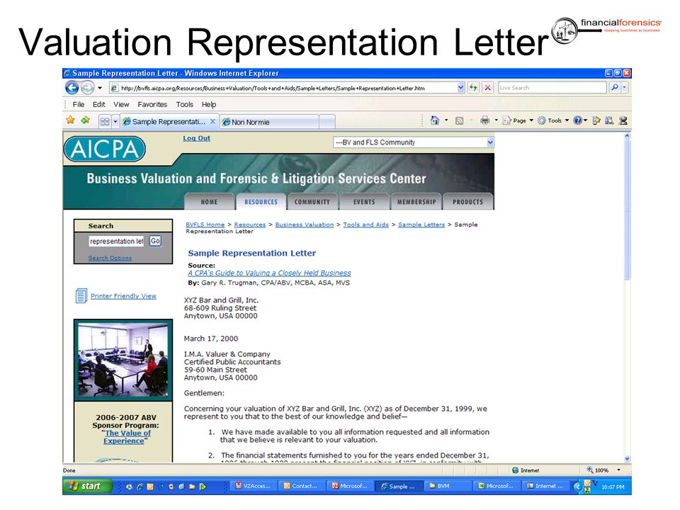 Valuation Representation Letter
