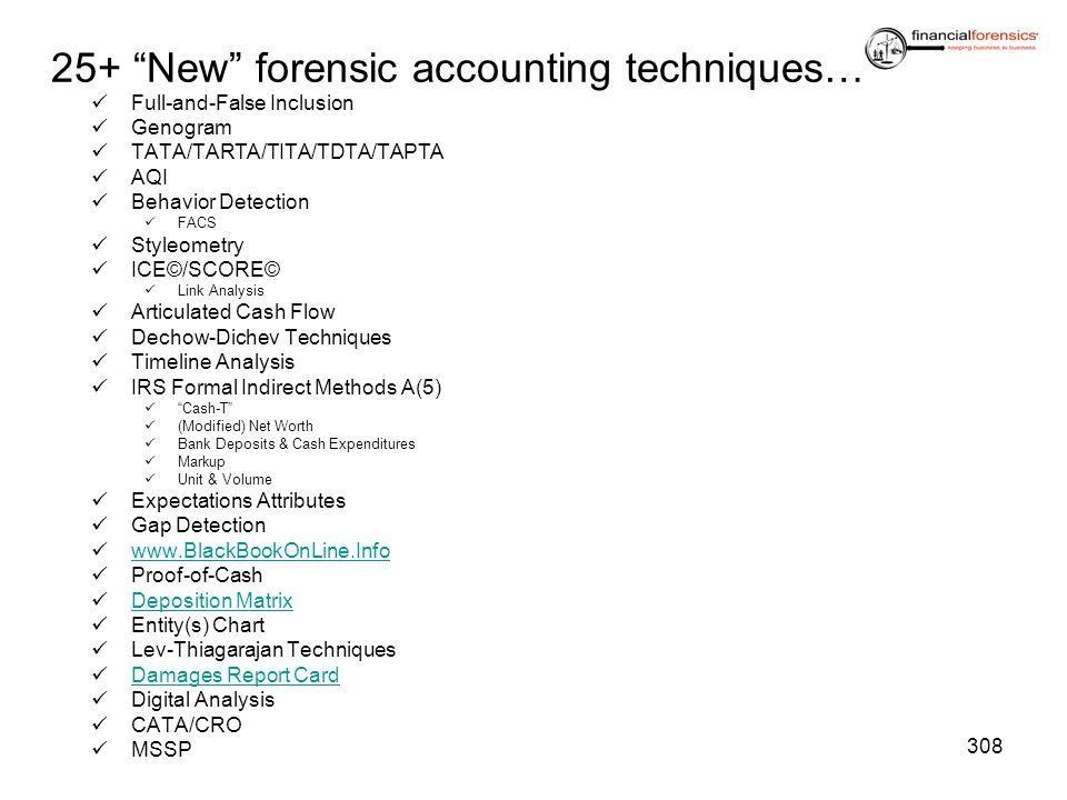 25+ New forensic accounting techniques…
