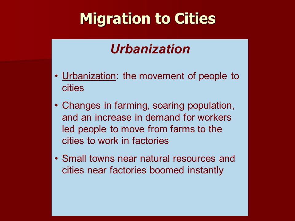 Migration to Cities Urbanization