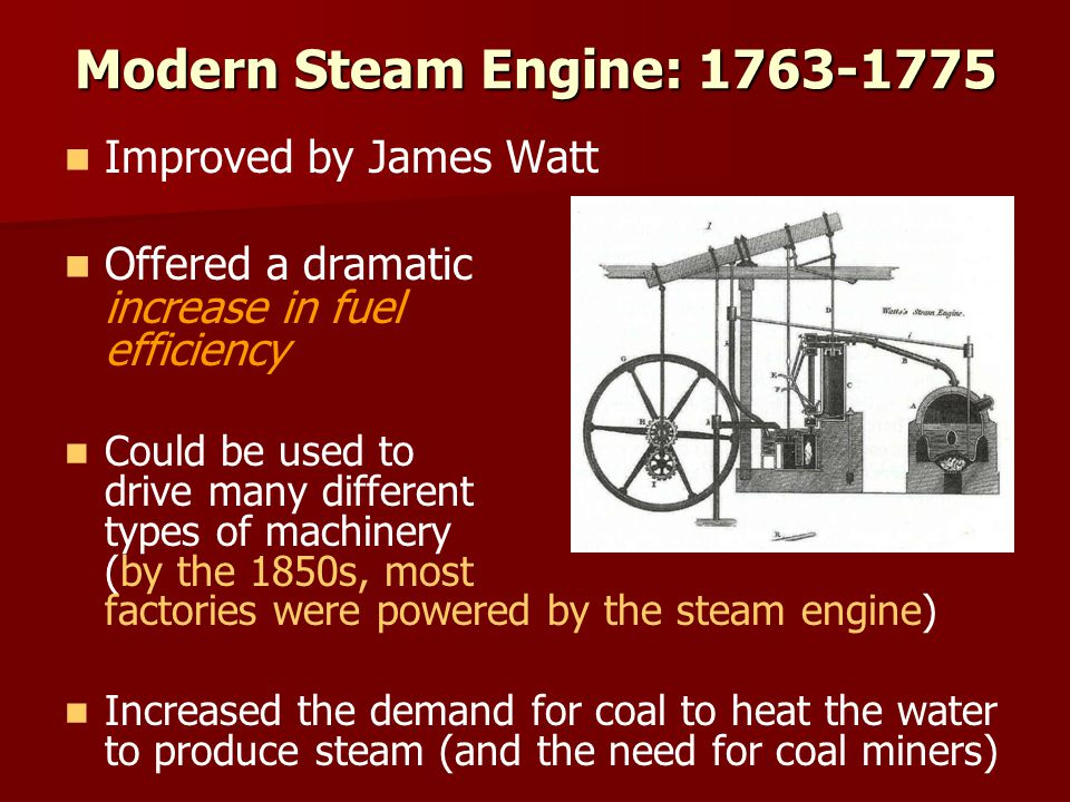 Modern Steam Engine: 1763-1775 Improved by James Watt