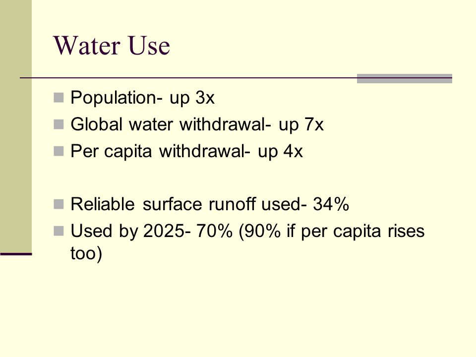 Water Use Population- up 3x Global water withdrawal- up 7x