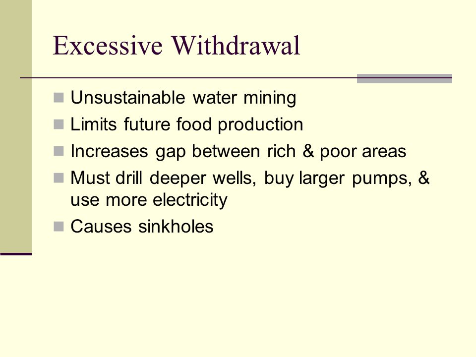 Excessive Withdrawal Unsustainable water mining