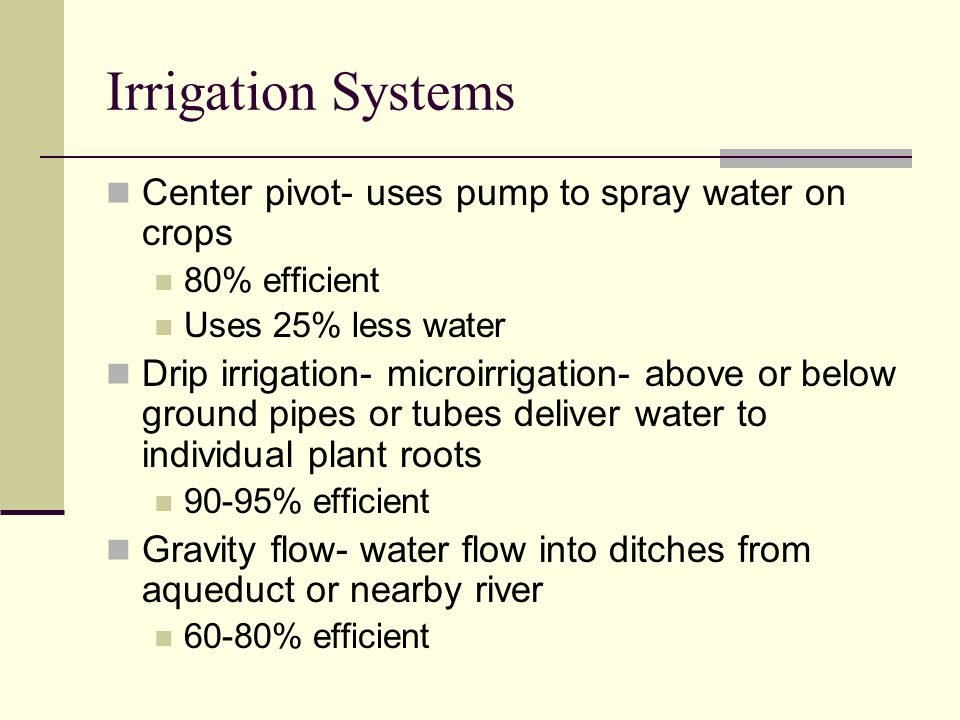 Irrigation Systems Center pivot- uses pump to spray water on crops