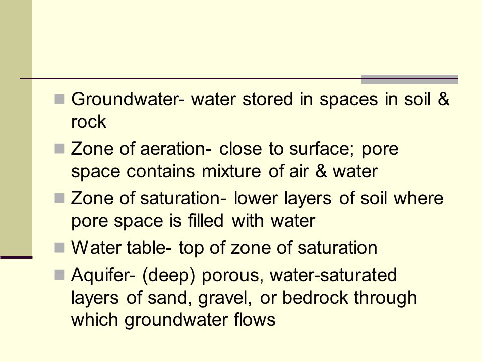 Groundwater- water stored in spaces in soil & rock