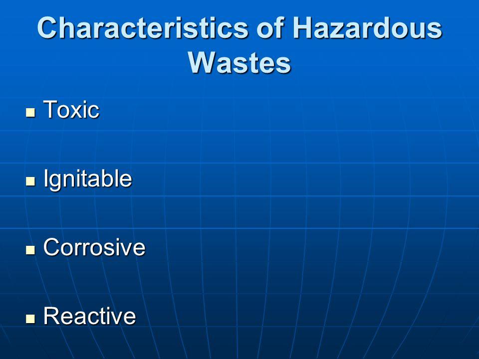 Characteristics of Hazardous Wastes