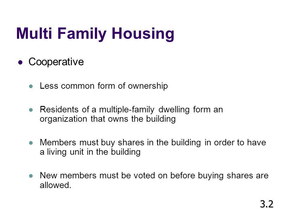 Multi Family Housing Cooperative 3.2 Less common form of ownership