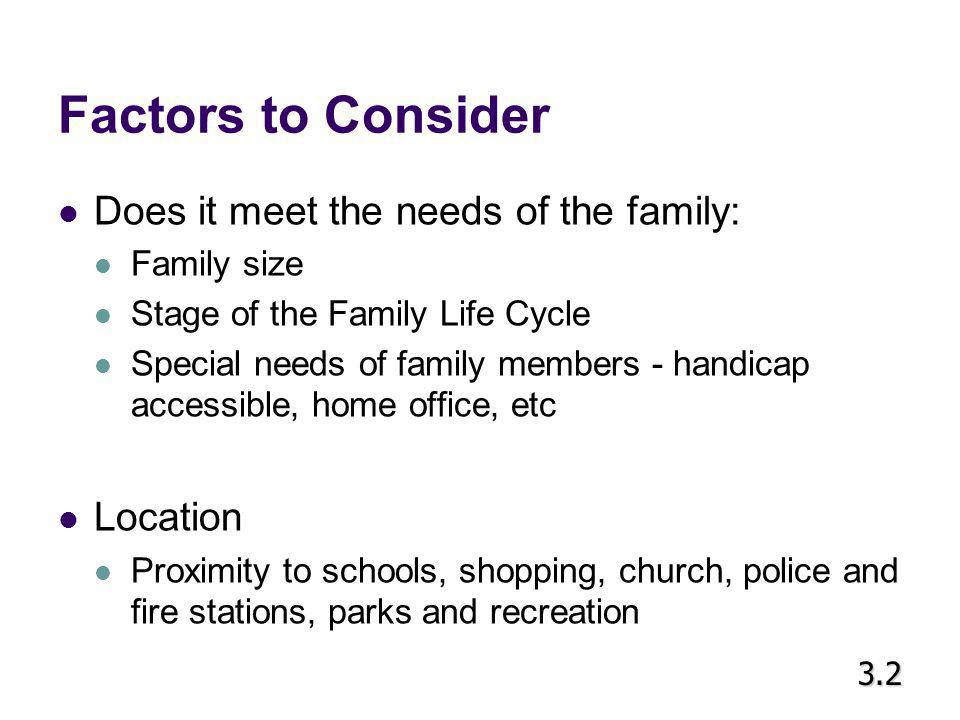 Factors to Consider Does it meet the needs of the family: Location