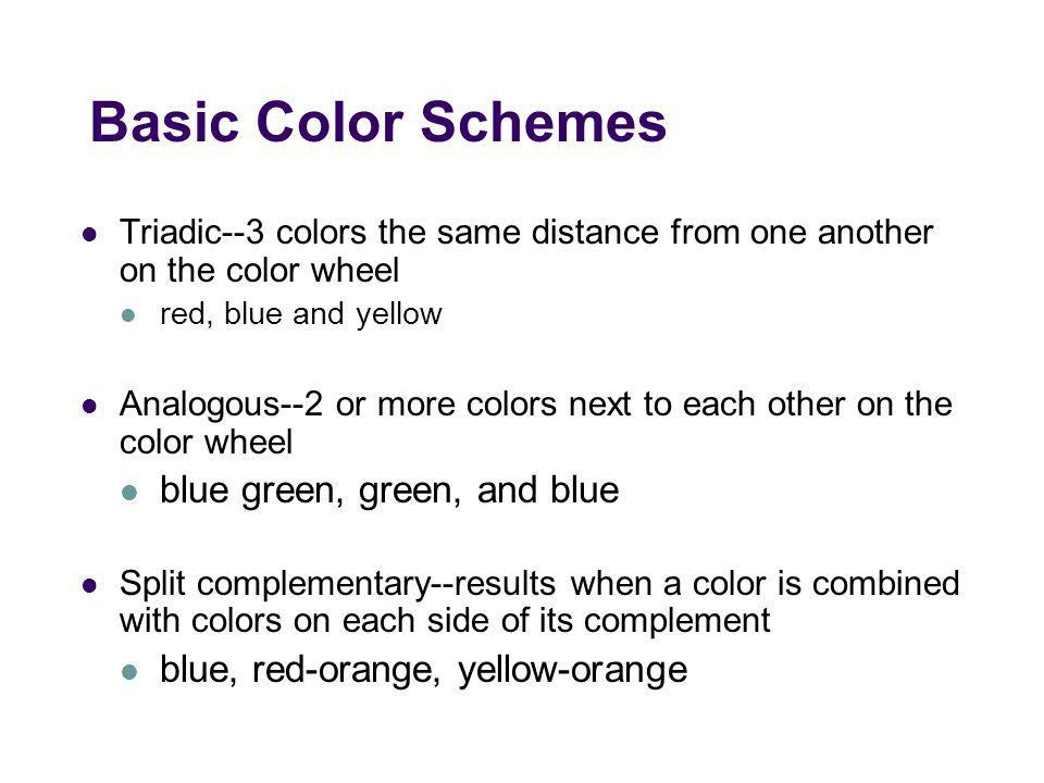 Basic Color Schemes blue green, green, and blue