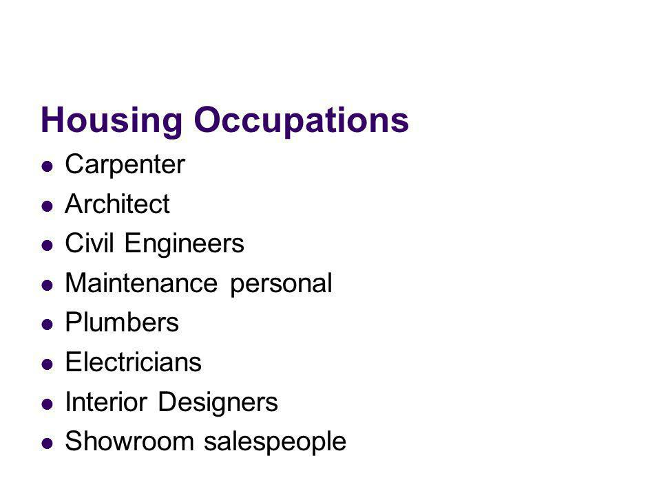 Housing Occupations Carpenter Architect Civil Engineers