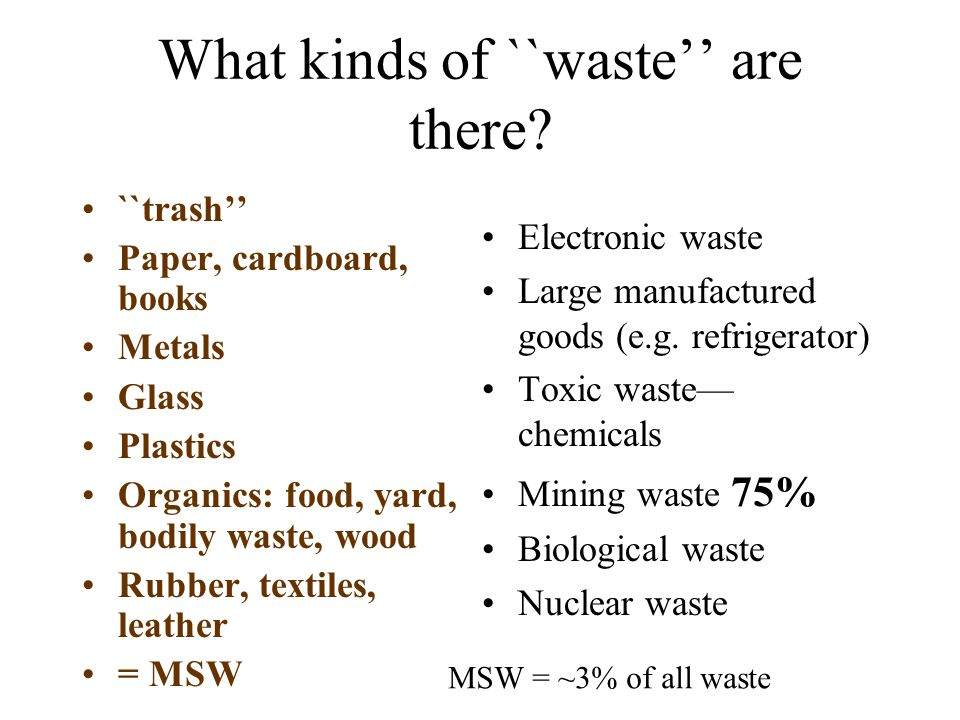 What kinds of ``waste'' are there