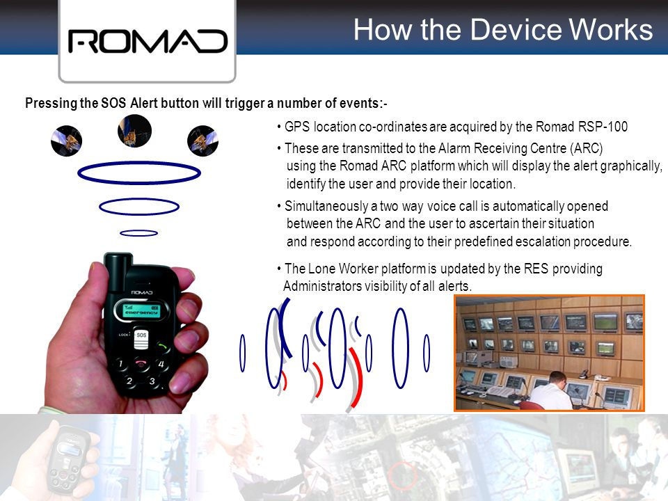 How the Device Works Pressing the SOS Alert button will trigger a number of events:- GPS location co-ordinates are acquired by the Romad RSP-100.