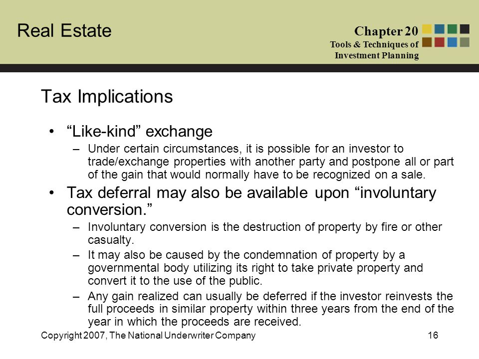 Tax Implications Like-kind exchange