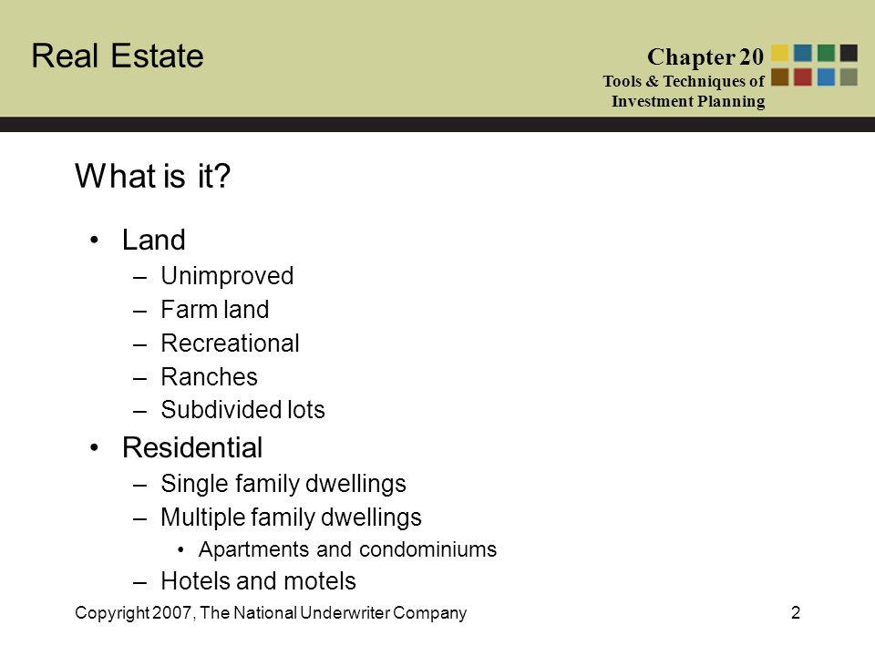 What is it Land Residential Unimproved Farm land Recreational Ranches