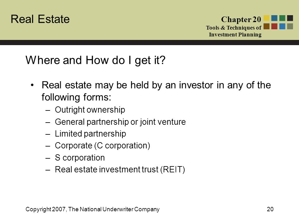Where and How do I get it Real estate may be held by an investor in any of the following forms: Outright ownership.