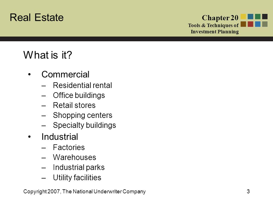 What is it Commercial Industrial Residential rental Office buildings
