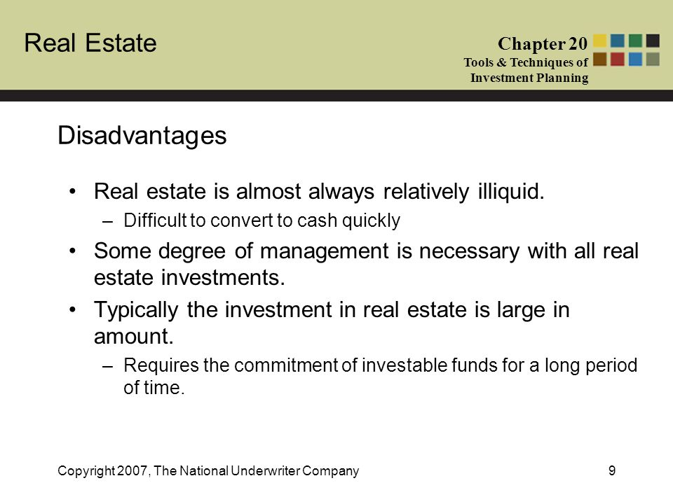 Disadvantages Real estate is almost always relatively illiquid.