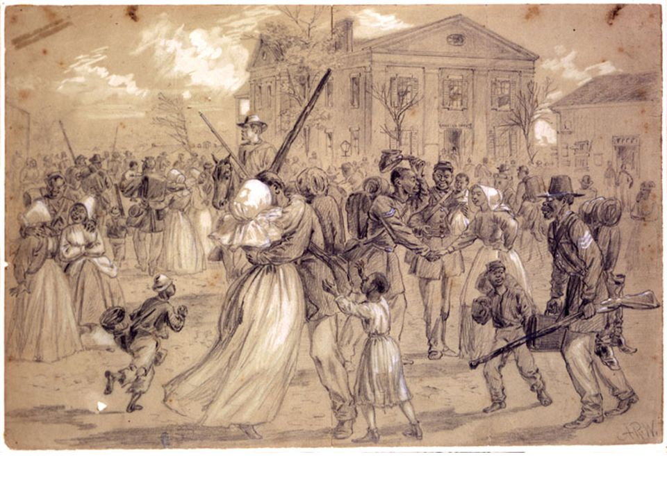 Alfred Waud s drawing captures the exuberance of the Little Rock, Arkansas, African American community as the U. S. Colored Troops returned home at the end of the Civil War. The victorious soldiers are joyously greeted by women and children.