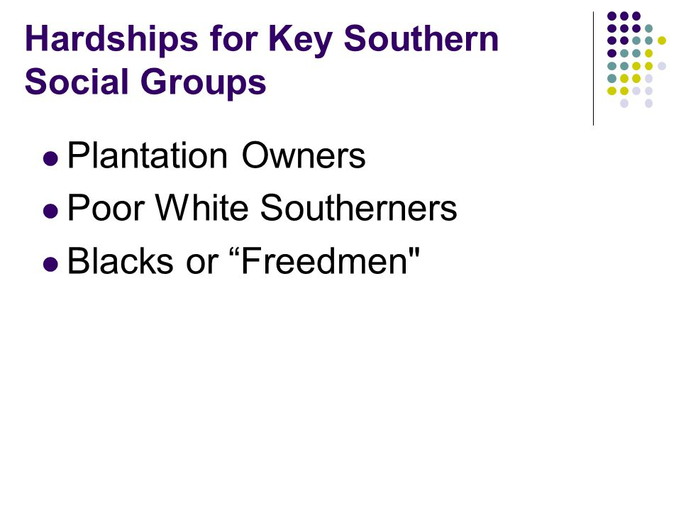 Hardships for Key Southern Social Groups