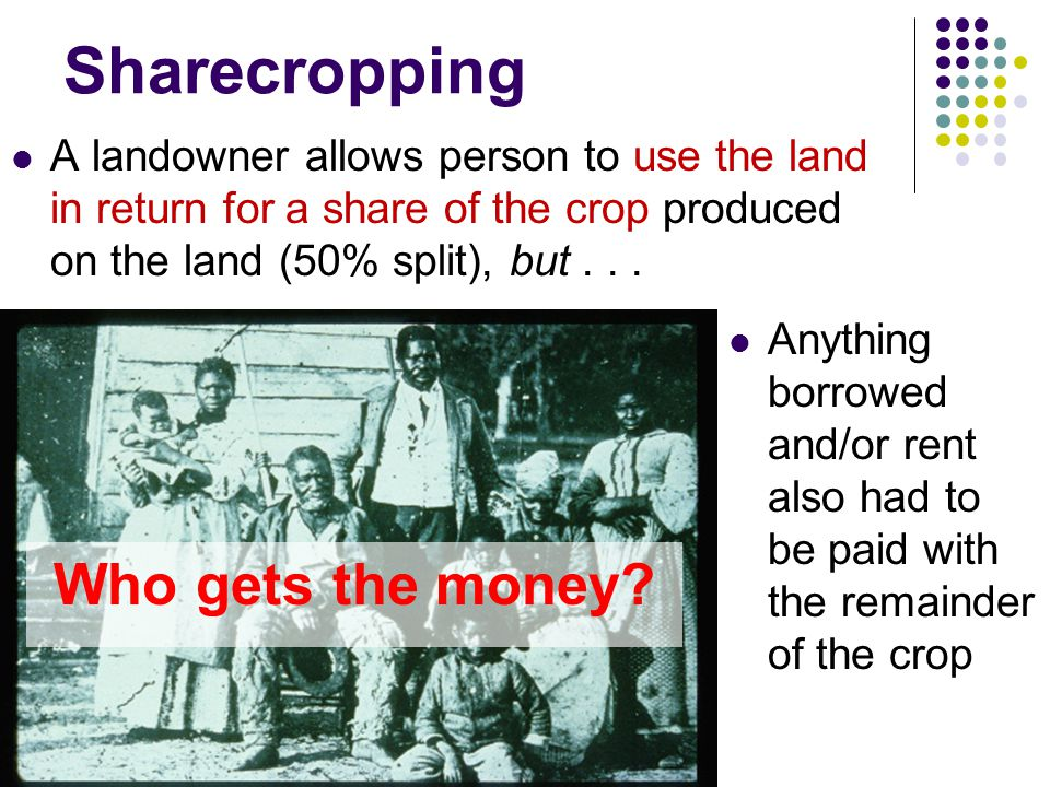 Sharecropping Who gets the money