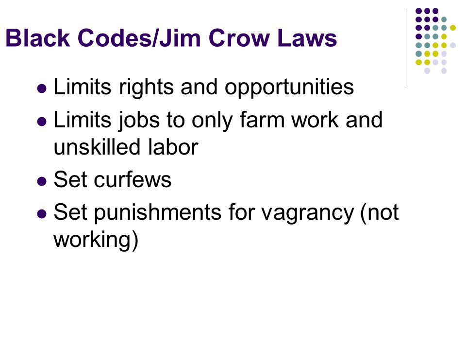 Black Codes/Jim Crow Laws