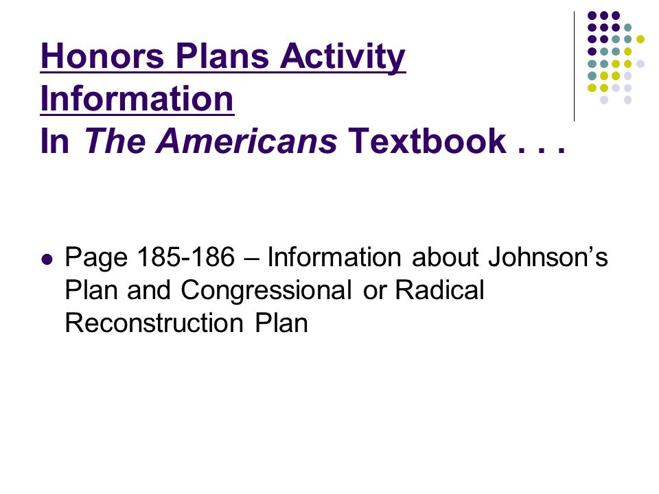 Honors Plans Activity Information In The Americans Textbook . . .