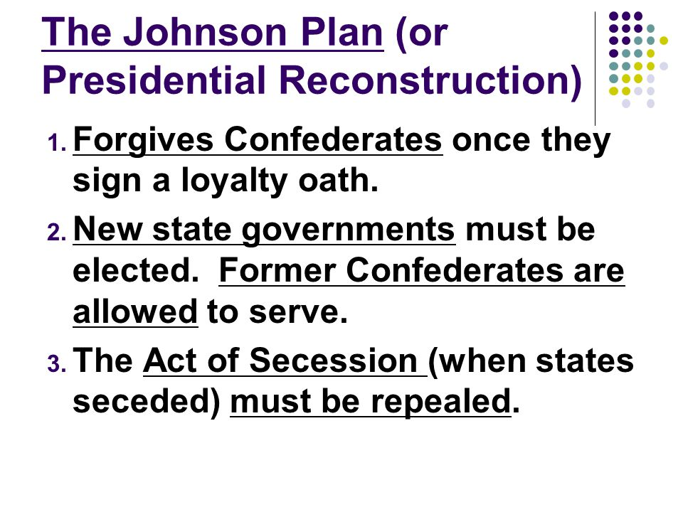 The Johnson Plan (or Presidential Reconstruction)