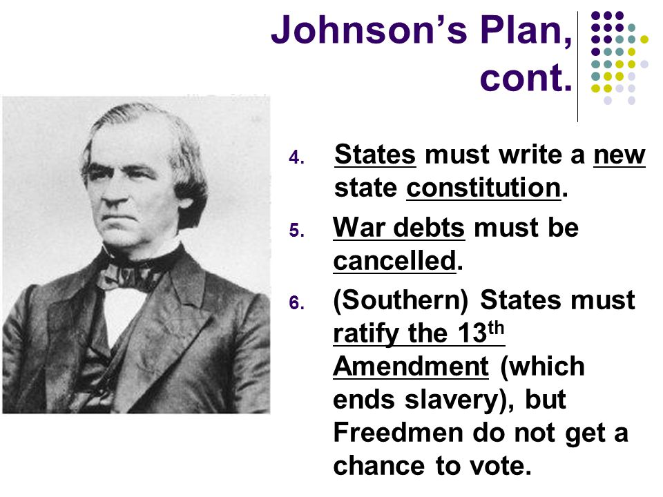 Johnson's Plan, cont. States must write a new state constitution.