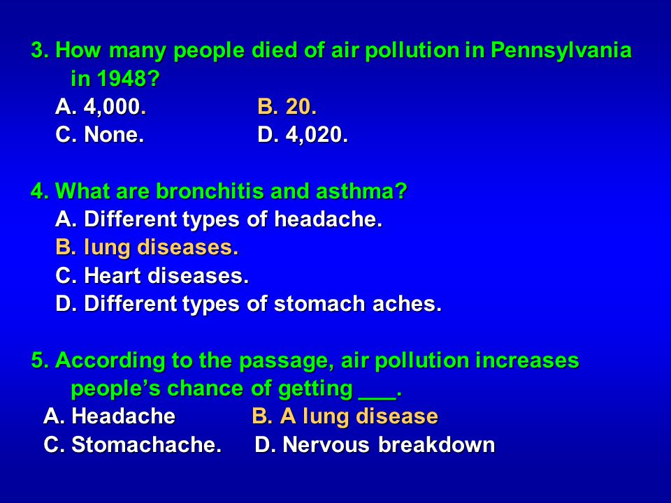 3. How many people died of air pollution in Pennsylvania in 1948