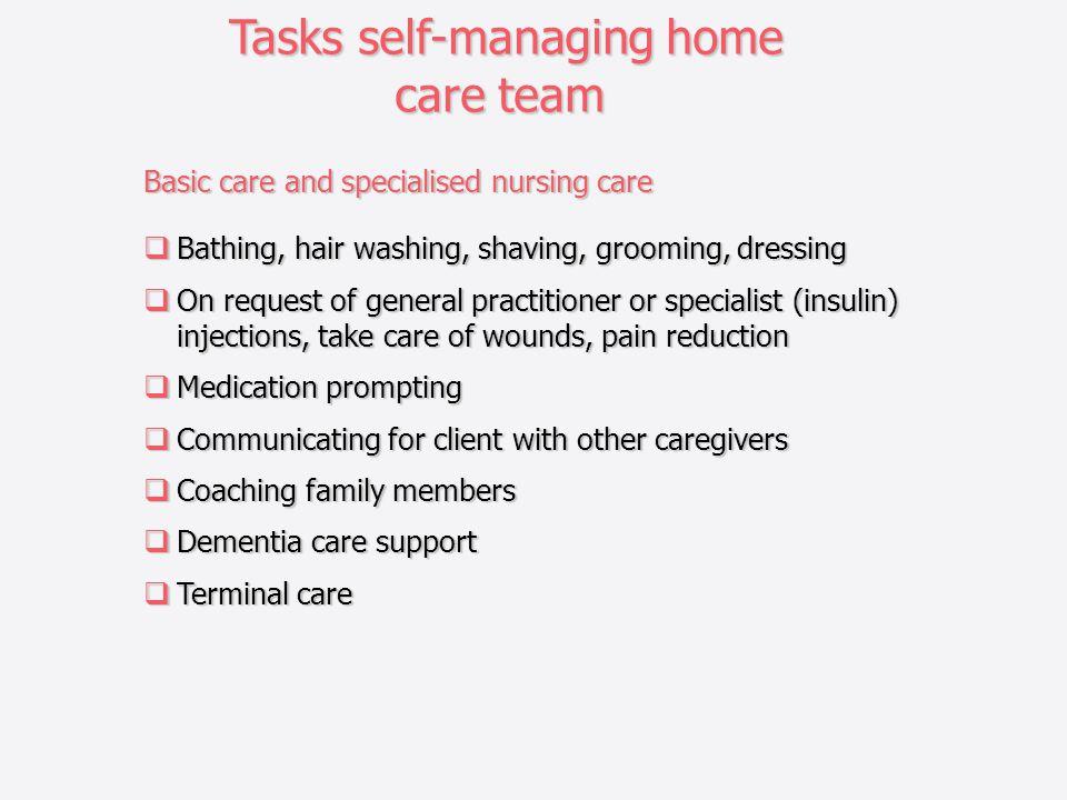 Tasks self-managing home care team