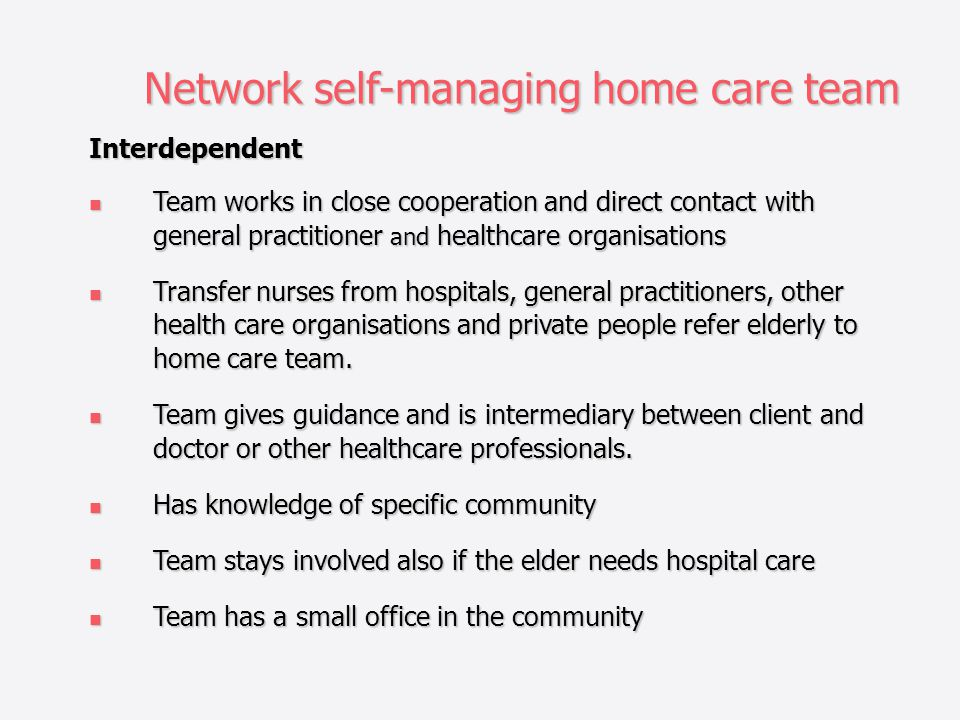 Network self-managing home care team