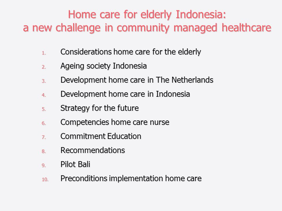 Home care for elderly Indonesia: