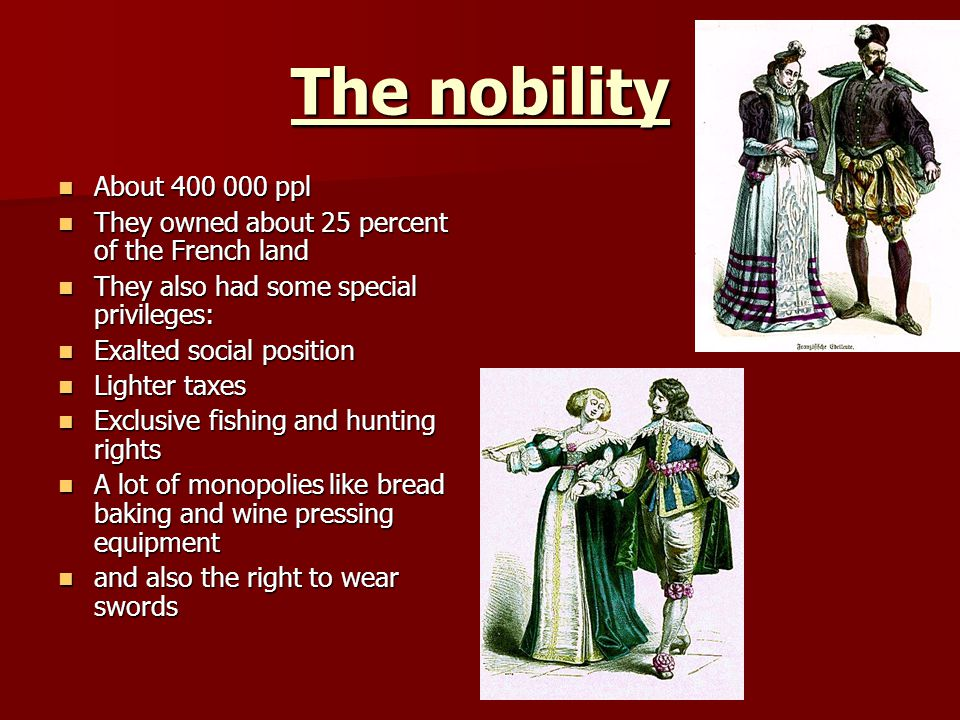 The nobility About 400 000 ppl. They owned about 25 percent of the French land. They also had some special privileges: