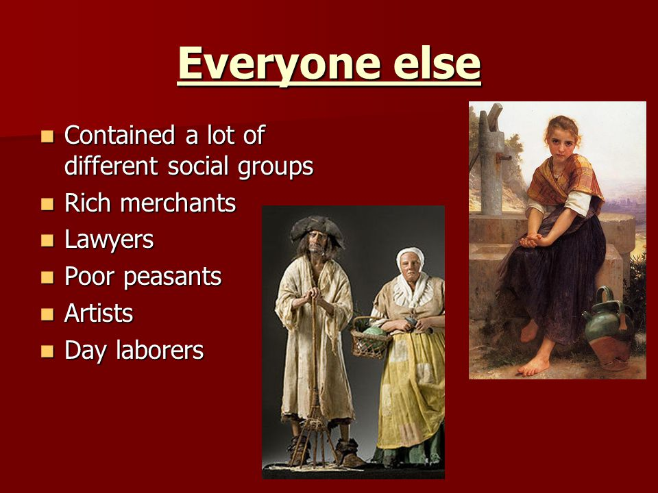Everyone else Contained a lot of different social groups
