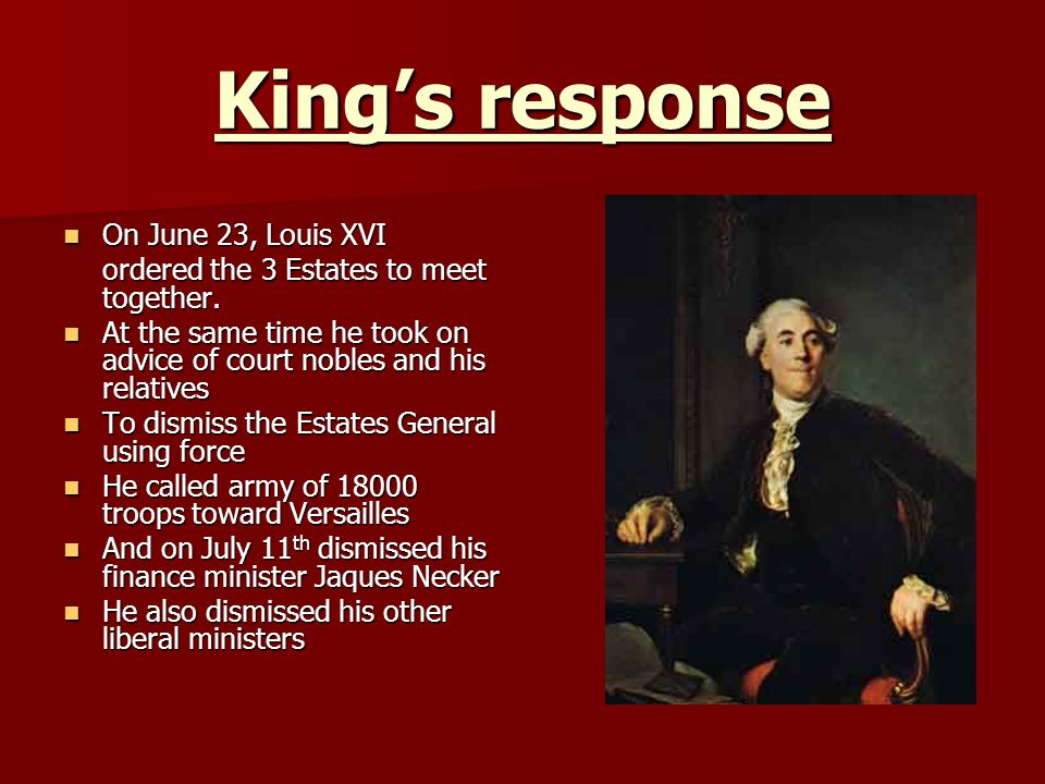 King's response On June 23, Louis XVI