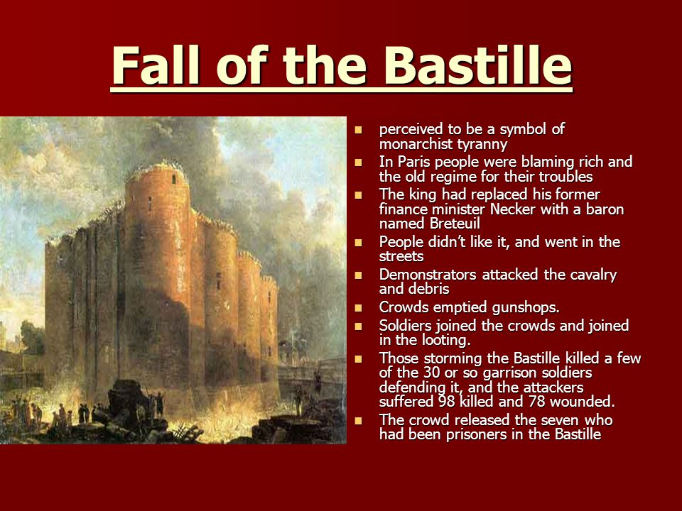 Fall of the Bastille perceived to be a symbol of monarchist tyranny