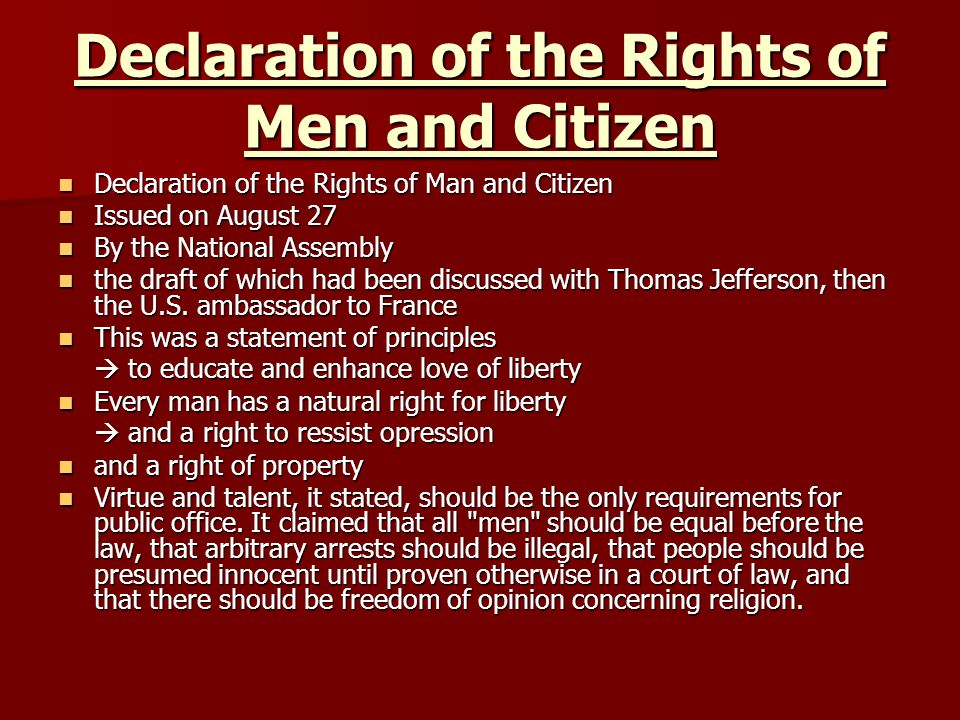 Declaration of the Rights of Men and Citizen