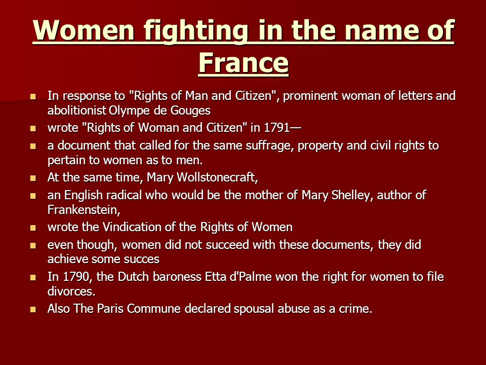 Women fighting in the name of France
