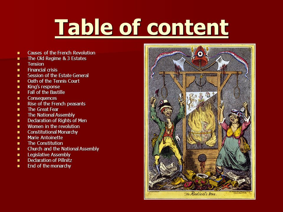 Table of content Causes of the French Revolution