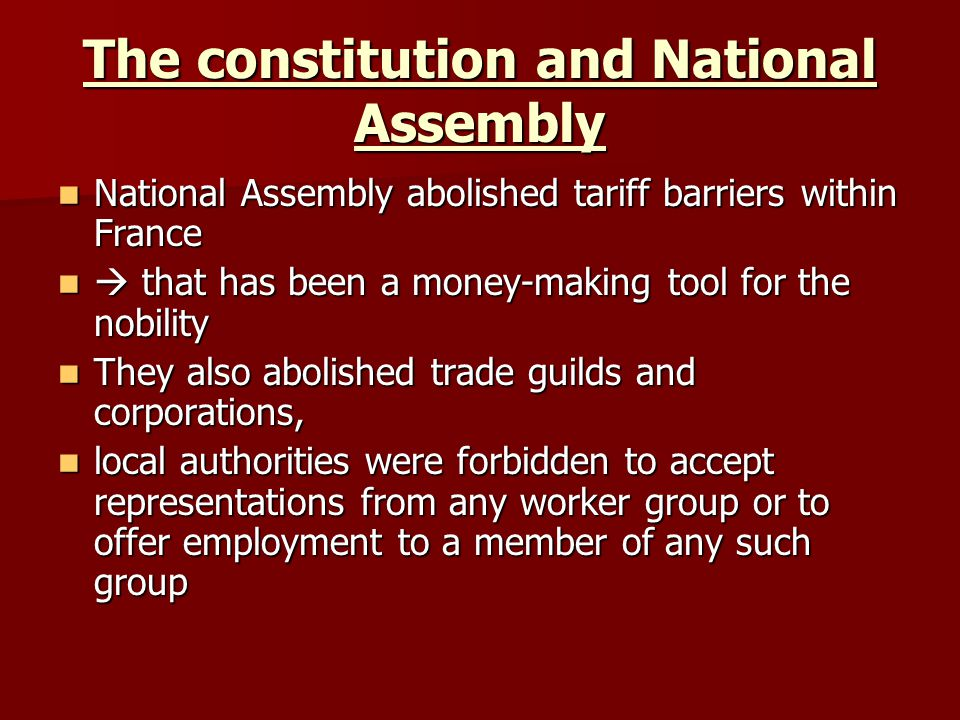 The constitution and National Assembly