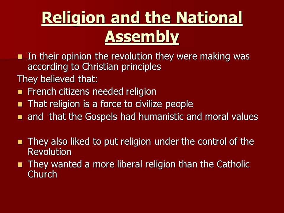Religion and the National Assembly