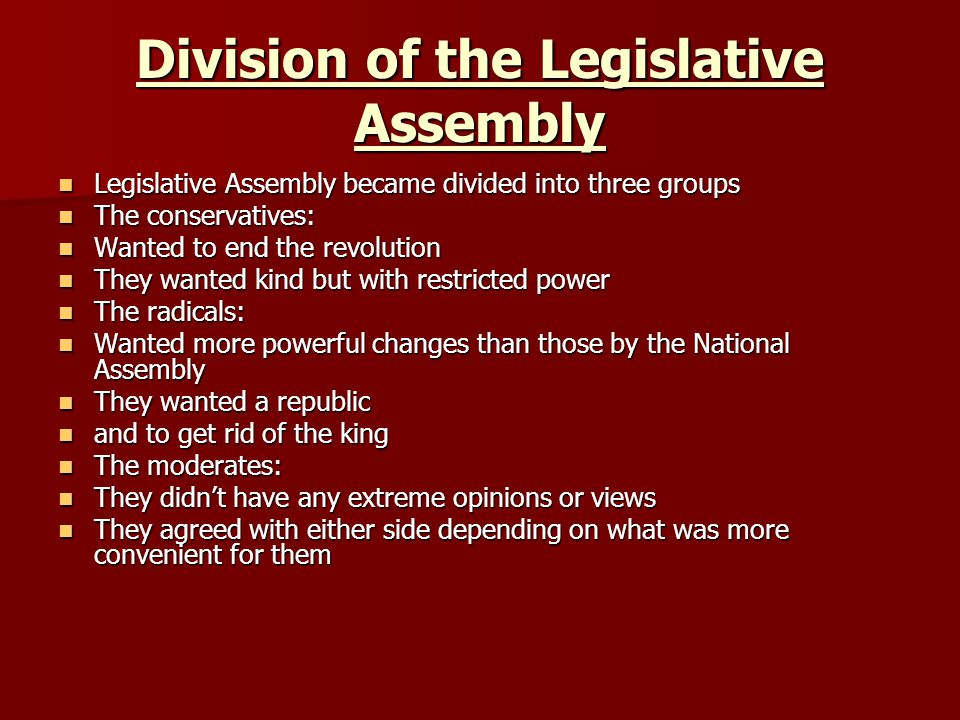 Division of the Legislative Assembly