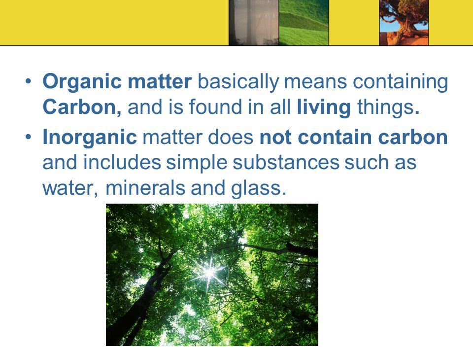 Organic matter basically means containing Carbon, and is found in all living things.